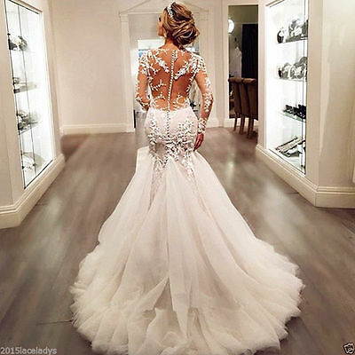 White Ivory Mermaid Wedding dress Bridal Gown Custom Size 4 6-8-10-12-14-16 18++