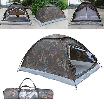 2 Person Waterproof Camo Outdoor Camping 4 Season Folding Tent Camouflage Hiking