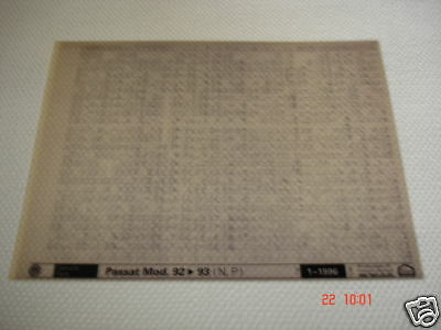 VOLKSWAGEN PASSAT MODEL 1992 to 1993 PARTS MICROFICHE FULL SET OF 1 - JAN.1996