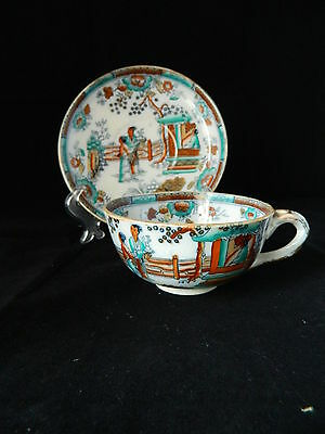 Antique 19th c Englsih Staffordshire pottery cup and saucer Oriental polychrome