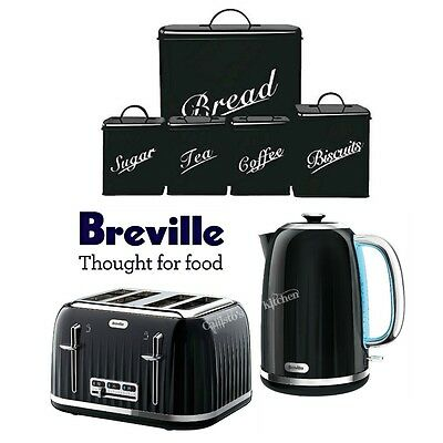 Breville Impressions Kettle and Toaster with 5 Piece Black Canister Set New