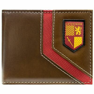 New Official Warner Harry Potter Gryffindor Shield Brown Id & Card Bifold Wallet