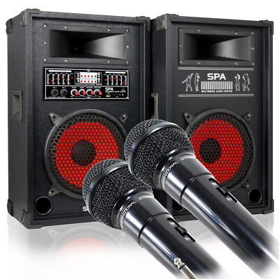 """Skytec SPA1000 10"""" Active Speakers with MP3 USB SD + Pulse Dynamic Microphones"""