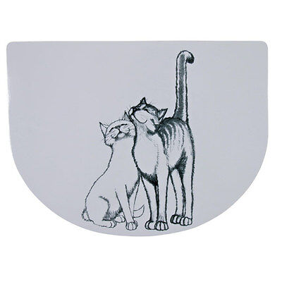 Trixie Pussy Cat Place Mat - Cat Spill Mat With Two Cats In Grey