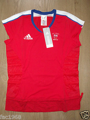 Team GB Great Britain Beijing 2008 Olympics Women's T-Shirt Adidas Red UK 12 New