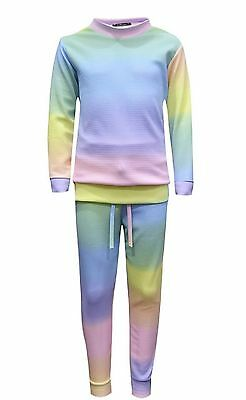 NEW Kids Childrens Girls Teens Rainbow Two Piece Tracksuit Joggers Jumper Lounge