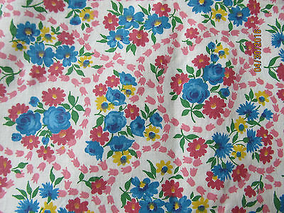 "Vintage Cotton Blue & Pink Floral Roses Flower Feedsack Quilt Fabric 35"" x 96"""