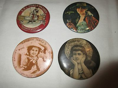 Pocket Mirrors , Mixed Lot of 4 , ANTIQUE ,VINTAGE  RARE , Shirley Temple , Coke
