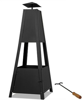 Pyramid Patio Heater Stainless Steel Outdoor Garden Fire Pit Charcoal Wood