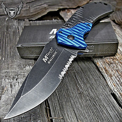 Mtech USA Spring Assisted Open Heavy Duty Tactical Folding Pocket Knife Blue