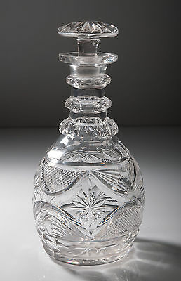 Antique Edwardian Cut Glass Wine/Spirit Decanter in the Anglo-Irish Pattern