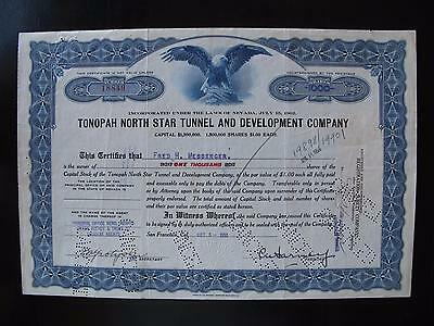 Tonopah North Star Tunnel & Development Co. Stock Certificate (Nevada Mining)