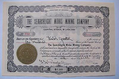 The Searchlight Midas Mining Co. Stock Certificate- Searchlight, Nevada, 1908