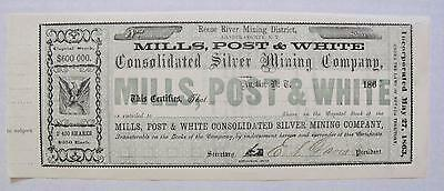 Mills, Post & White S. Mining Co. Stock Certificate, Austin, Nevada Territory