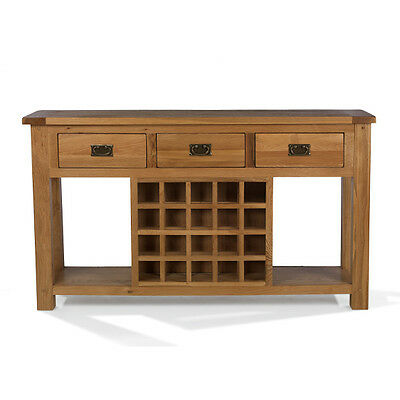 Rustic Oak Wine Rack Console Table Living Room Solid Wood Indian Furniture