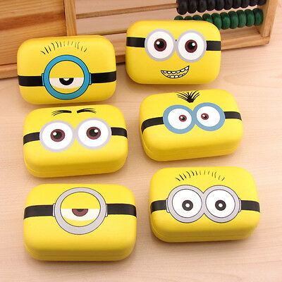 Minions Contact Lens Case US Pupil Storage Box Tweezers Holder Mirror Travel Kit