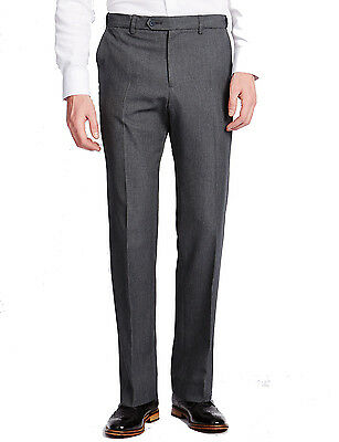 Marks & Spencer Mens Classic Grey Trousers New M&S Active Waist Smart Long Pants