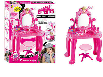 GIRLS PINK DRESSING TABLE PLAY SET TOY MAKE UP DESK WITH STOOL  seat