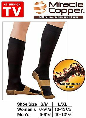 Miracle Copper Compression Socks Travel Knee High Varicose Veins Stocking LARGE