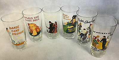 Vintage 1950s Rare Set 6 French Highball Glasses Peter Cheyney Detective Novels