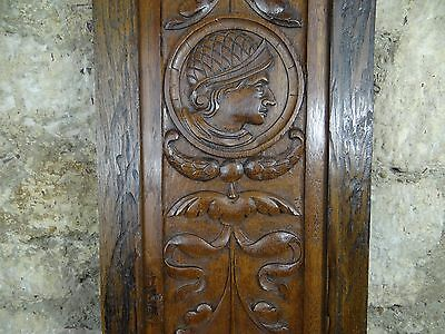 Antique French Hand Carved Oak Wood Door Panel - Middle Age Man Face
