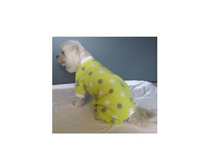 Yellow with Dots Fleece Pajamas PJ's Dog Puppy Pet Apparel Clothes XXXS - Large