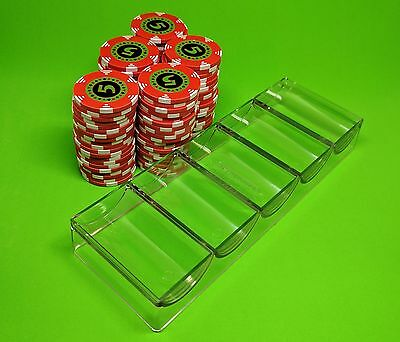 5 Poker Chip Trays - Casino Chip Racks - Each Tray Holds 100 Chips - Brand New