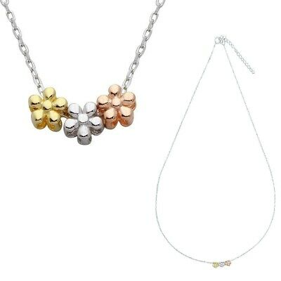 Sterling Silver Necklace w/ Rhodium, Gold and Rose Gold Plated Flowers Pendant