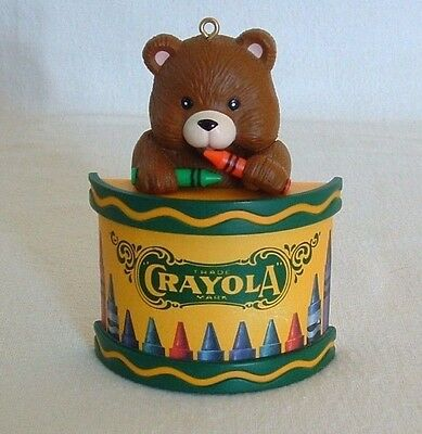 CRAYOLA TEDDY BEAR Christmas Tree ORNAMENT Binney & Smith CRAYONS