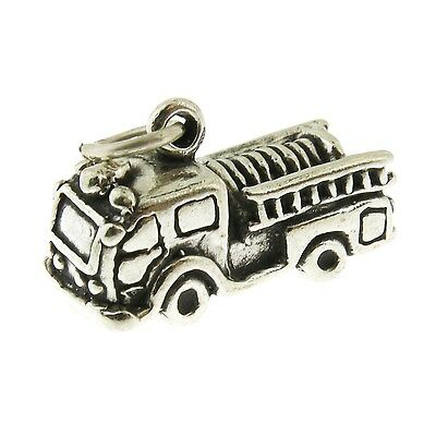 925 Sterling Silver Fire Truck Engine Charm Made in USA