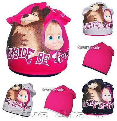 Baby toddler kid girl masha and the bear hat cotton reverse cap size1-3-10 years