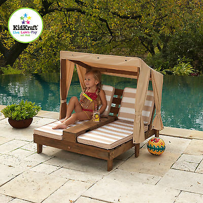 Kidkraft Outdoor Double Chair Lounge Bench Table W/ Cup Holder Kids Children