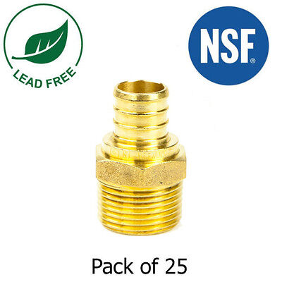 "1/2"" PEX x 1/2"" Male NPT Threaded Adapter Lead Free Brass Crimp Fitting, 25 PCS"