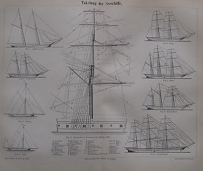1889 TAKELUNG DER SEESCHIFFE Original alter Druck antique print Litho