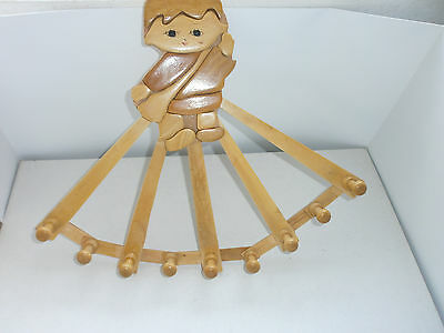 Vintage Old  Russian, Soviet  Wooden Folding Hanger with Boy