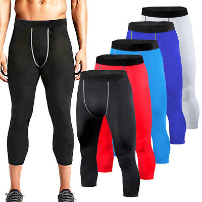 Mens Compression 3/4 Pants Gym Fitness Base Layers Football Running Tights