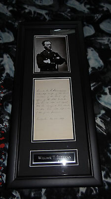 William Tecumseh Sherman signed framed letter PSA DNA authentic