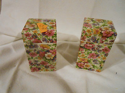 "Pair of English chintz covered square boxes 4"" high, 2"" wide"