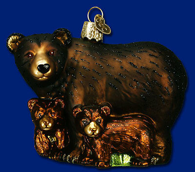 """Bear with Cubs"" (12199) Old World Christmas Glass Ornament - Free Gift Box!"