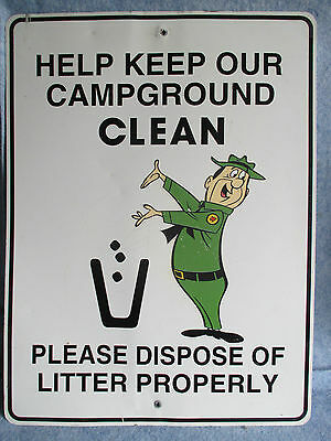"VINTAGE JELLYSTONE PARK CAMPGROUND SIGN 18"" x 24"" / RARE YOGI BEAR HANNA BARBERA"