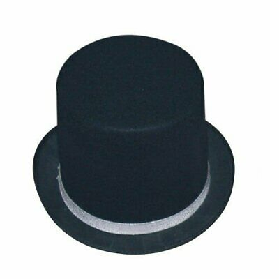 Black Tuxedo Top Hat with Red or Silver Band