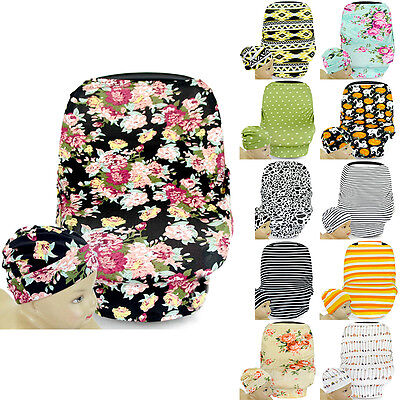 Stretchy Soft Infant Baby Multi-Use Car Seat Canopy Nursing Cover Beanie Cap