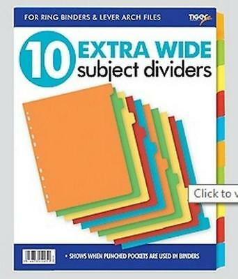 A4 10 Extra Wide Subject Card Divider Tabbed Colours Ring Binders File Filling