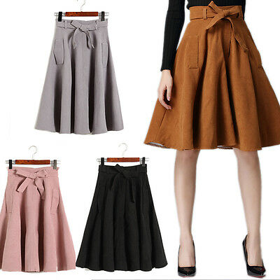 New Autumn Women Faux Suede Vintage High Waist Knee Length A Line Pleated Skirts