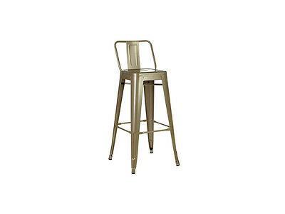 Classy Stylish Metal Industrial Look Bar Chair Stool Champagne Powder Coated
