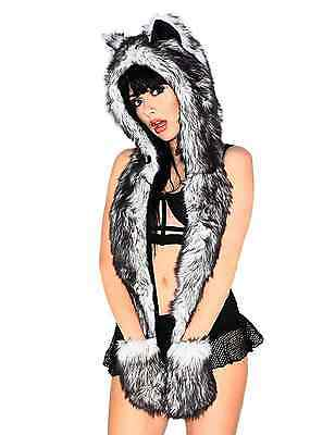 iHeartRaves Husky Rave Spirit Fluffy Furry Hood (Black)