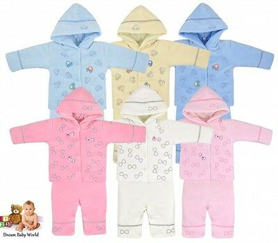 2Pcs Baby GIRLS BOYS Autumn Outfits SET WARM Dungarees & Jacket 0 - 3 Months