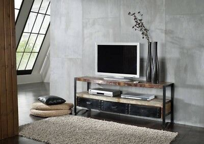 lowboard industrial design tv bank holz metall designer industrie m bel neu eur 556 00. Black Bedroom Furniture Sets. Home Design Ideas