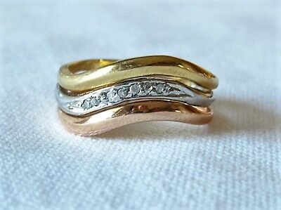 Tricolor Gold Brillantring Ring Gold 585 Punze Brillanten Goldschmuck Bandring
