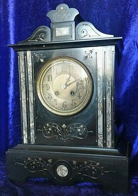Antique French Japy Freres Marble/Slate Striking Mantle Clock 19th century